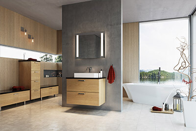 Bathroom with wood